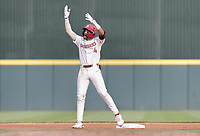 Arkansas infielder Jalen Battles (4) reacts, Monday, June 7, 2021 in the fifth inning of the NCAA Fayetteville Regional at Baum-Walker Stadium in Fayetteville. Check out nwaonline.com/210608Daily/ for today's photo gallery. <br /> (NWA Democrat-Gazette/Charlie Kaijo)