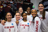 STANFORD, CA - March 17, 2018: Shannon Coffee, DiJonai Carrington, Kiana Williams, Alanna Smith. Marta Sniezek, Alyssa Jerome, Nadia Fingall at Maples Pavilion. The Stanford Cardinal defeated the Gonzaga Bulldogs 82-68 to advance to the second round of the NCAA tournament.