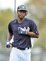 5 March 2011: New York Yankees' outfielder Melky Mesa awaits his turn in the batting cage prior to a Spring Training game against the Washington Nationals at George M. Steinbrenner Field in Tampa, Florida. The Nationals defeated the Yankees 10-8 in Grapefruit League action. Mandatory Credit: Ed Wolfstein Photo