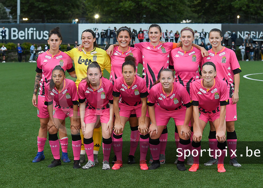 Charleroi's players with Sara Missair , Jessica Silva Valdebenito , Ylenia-Ann Carabott , Ludmila Matavkova , Noemie Fourdin , Renate-Ly Mehevets , Madison Hudson , Chrystal Lermusiaux , Megane Vos and Alysson Duterne posing for the teampicture during a female soccer game between Sporting Charleroi and FC Femina White Star Woluwe on the second matchday of the 2020 - 2021 season of Belgian Scooore Women s SuperLeague , friday 4 th of September 2020  in Marcinelle , Belgium . PHOTO SPORTPIX.BE | SPP | DAVID CATRY