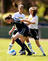 2 September 2007: George Washington University Colonials' Jillian Morgan, a Freshman from Douglassville, PA, in action against the University of Vermont Catamounts at Historic Centennial Field in Burlington, Vermont. The Colonials rallied to defeat the Catamounts 2-1 in overtime during the TD Banknorth Soccer Classic...Mandatory Photo Credit: Ed Wolfstein Photo