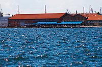 Restaurant on the harbour waterfront. Thessaloniki, Macedonia, Greece