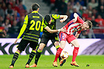 Atletico de Madrid's Kevin Gameiro (r) and Sporting Clube de Portugal's Rodrigo Battaglia (c) and Bryan Ruiz during Europa League Quarter-finals, 1st leg. April 5,2018. (ALTERPHOTOS/Acero)