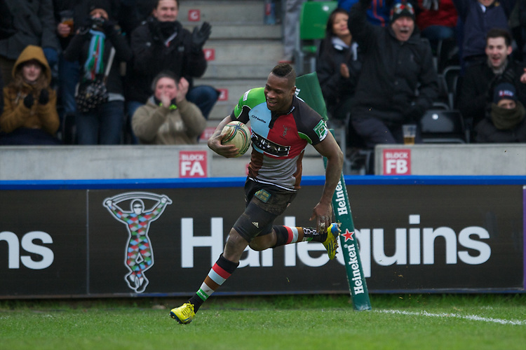 Ugo Monye of Harlequins runs in a try during his 200th appearance for the club during the Heineken Cup match between Harlequins and Connacht Rugby at The Twickenham Stoop on Saturday 12th January 2013 (Photo by Rob Munro).