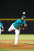 AZL Mariners relief pitcher Jamal Wade (29) follows through on his delivery against the AZL Royals on July 29, 2017 at Peoria Stadium in Peoria, Arizona. AZL Royals defeated the AZL Mariners 11-4. (Zachary Lucy/Four Seam Images)