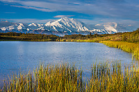 Denali,  and reflection pond, at the west end of Denali National Park, Interior, Alaska.Denali National Park, Interior, Alaska.