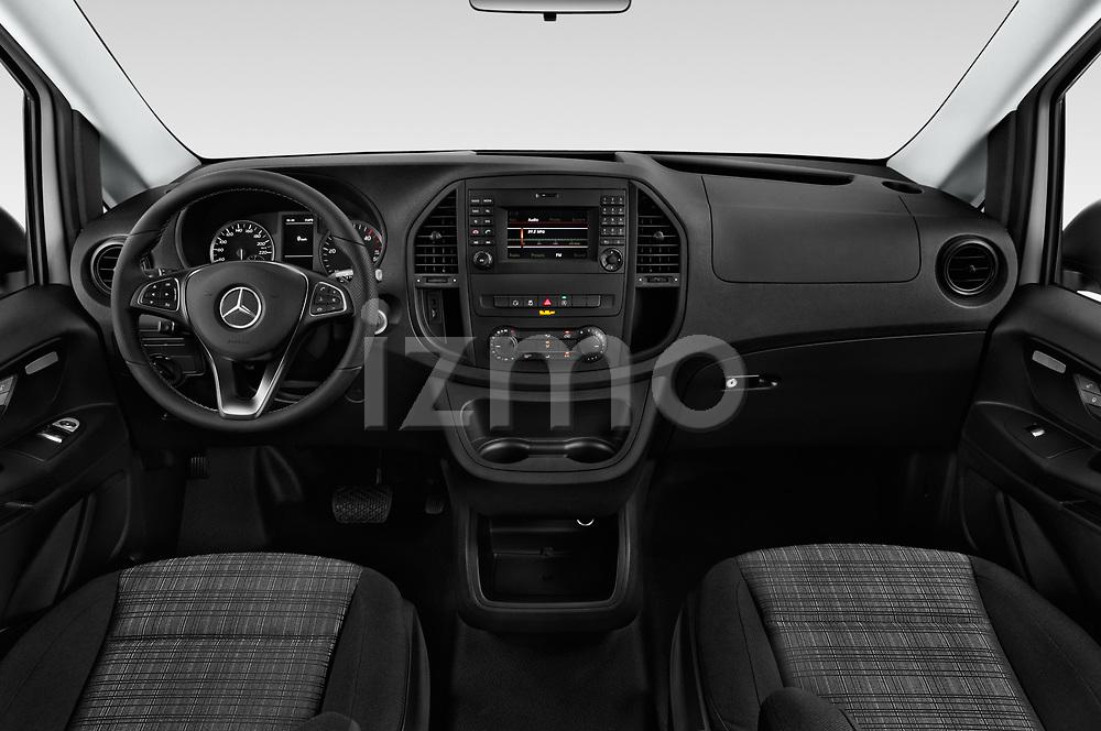 Stock photo of straight dashboard view of a 2019 Mercedes Benz Metris Base 5 Door Cargo Van