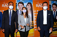 The minister of foreign affairs Luigi Di Maio, the former premier Giuseppe Conte and the mayor of Rome Virginia Raggi in a suburb in the east of Rome during the election campaign for the mayor of Rome. <br /> Rome (Italy), September 14th 2021<br /> Photo Samantha Zucchi Insidefoto