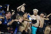 SAN JOSE, CA - SEPTEMBER 25: Chris Wondolowski #8 of the San Jose Earthquakes cheers from the supporter's section as he serves his one game suspension for getting a red card last game during a Major League Soccer (MLS) match between the San Jose Earthquakes and the Philadelphia Union on September 25, 2019 at Avaya Stadium in San Jose, California.