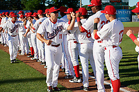 Auburn Doubledays manager Jerad Head (11) during introductions before a game against the Batavia Muckdogs on June 15, 2018 at Falcon Park in Auburn, New York.  Auburn defeated Batavia 5-1.  (Mike Janes/Four Seam Images)