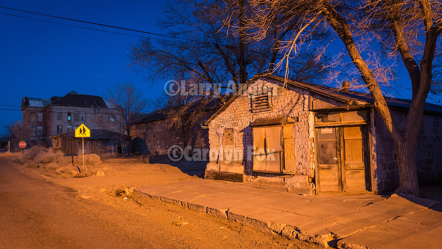 Old house and the old high school, evening, Goldfield, Nev.