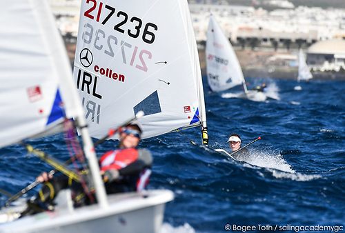 Anne Marie Rindom of Denmark leads Ireland's Annalise Murphy in the ILCA 6 class of the Lanzarote Winter Series