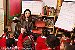 K-8 Parochial School Bronx New York Grade 1 female teacher with class in circle formation lesson on science voabulary and concepts horizontal