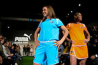 Sky Blue FC players Heather O'Reilly and Christie Rampone walk down the runway during the unveiling of the Women's Professional Soccer uniforms at the Event Place in Manhattan, NY, on February 24, 2009. Photo by Howard C. Smith/isiphotos.com