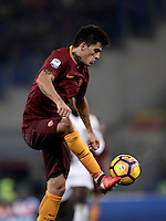 Calcio, Serie A: Roma vs Milan. Roma, stadio Olimpico, 12 dicembre 2016.<br /> Roma's Diego Perotti controls the ball during the Italian Serie A football match between Roma and AC Milan at Rome's Olympic stadium, 12 December 2016.<br /> UPDATE IMAGES PRESS/Isabella Bonotto