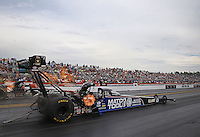 Mar. 17, 2013; Gainesville, FL, USA; NHRA top fuel dragster driver Antron Brown during the Gatornationals at Auto-Plus Raceway at Gainesville. Mandatory Credit: Mark J. Rebilas-