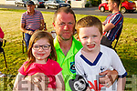 Taylor and Ryan Houlihan with their dad Trevor, enjoying the summer sun party in Connolly Park on Saturday evening.