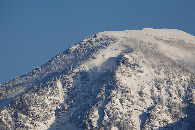 Snow covered mountain in the Bitterroot Range of western Montana