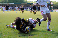 Ashley Johnson of London Wasps scores a try during the first leg of the European Rugby Champions Cup play-off match between London Wasps and Stade Francais at Adams Park on Sunday 18th May 2014 (Photo by Rob Munro)