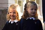 14.09.2012. Prince Felipe of Spain, Princess Letizia of Spain and their daughters Leonor and Sofia  arrive at 'Santa Maria de los Rosales' School in Aravaca near of Madrid, Spain. In the image (L-R) Princess Sofia and Princess Leonor  (Alterphotos/Marta Gonzalez)