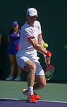 Janko Tipsarevic (SRB) plays  at the Sony Ericsson Open in Key Biscayne, Florida on March 28, 2012