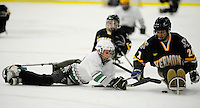 29 December 2007: Members of the Northeast Disabled Athletic Association compete in an ice hockey scrimage between periods of a game between the Holy Cross Crusaders and the University of Vermont Catamounts at Gutterson Fieldhouse in Burlington, Vermont. ..Mandatory Photo Credit: Ed Wolfstein Photo
