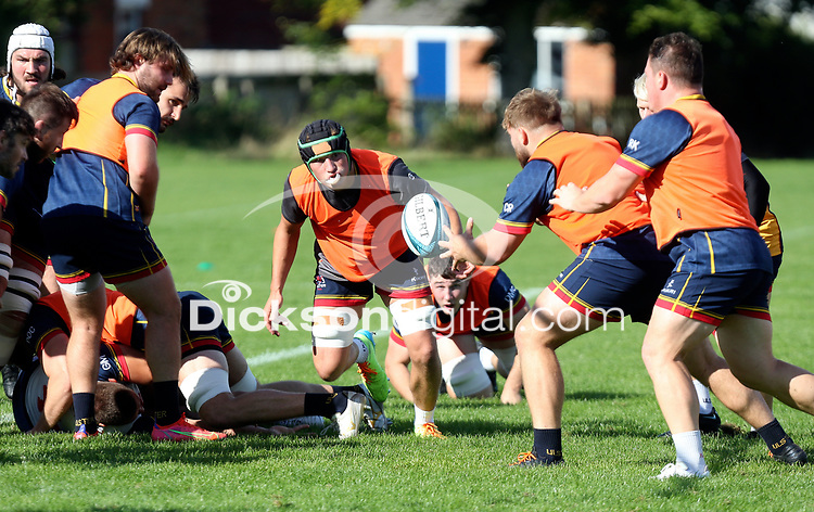 Wednesday 22nd September 2021<br /> <br /> Reuben Crothers and Callum Reid during Ulster Rugby training at Perrie Park, Belfast, Northern Ireland. Photo by John Dickson/Dicksondigital