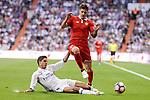 Real Madrid's Raphael Varane and Sevilla FC Stevan Jovetic during La Liga match between Real Madrid and Sevilla FC at Santiago Bernabeu Stadium in Madrid, May 14, 2017. Spain.<br /> (ALTERPHOTOS/BorjaB.Hojas)
