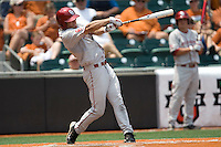 Outfielder Ricky Eisenberg #10 of the Oklahoma Sooners swings against the Texas Longhorns in NCAA Big XII baseball on May 1, 2011 at Disch Falk Field in Austin, Texas. (Photo by Andrew Woolley / Four Seam Images)