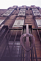 View of Glasgow School of Art looking up. Detail of windows and metal design. Charles Rennie Mackintosh.