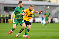Gethin Jones of Mansfield Town battles with Dan Butler of Newport County during the Sky Bet League Two Play-off Semi Final: First Leg match between Newport County and Mansfield Town at Rodney Parade in Newport, Wales, UK.  Thursday 09 May 2019