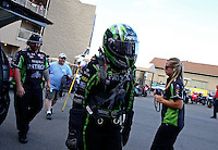 Jul. 19, 2013; Morrison, CO, USA: NHRA funny car driver Alexis DeJoria during qualifying for the Mile High Nationals at Bandimere Speedway. Mandatory Credit: Mark J. Rebilas-