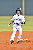 Pulaski Yankees third baseman Ricky Surum (2) rounds second base during game one of the Appalachian League Championship Series against the Elizabethton Twins at Joe O'Brien Field on September 7, 2017 in Elizabethton, Tennessee. The Twins defeated the Yankees 12-1. (Tony Farlow/Four Seam Images)