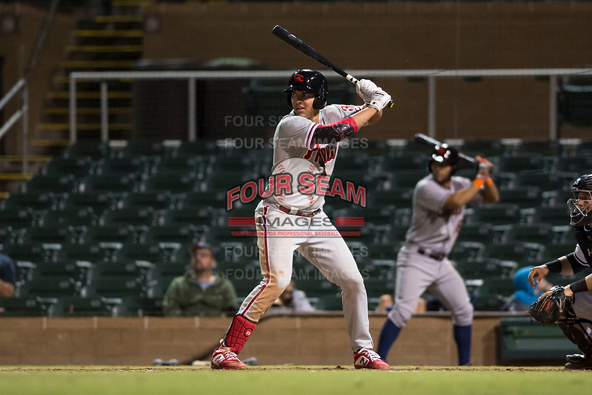 Scottsdale Scorpions first baseman Darick Hall (30), of the Philadelphia Phillies organization, at bat during an Arizona Fall League game against the Salt River Rafters at Salt River Fields at Talking Stick on October 11, 2018 in Scottsdale, Arizona. Salt River defeated Scottsdale 7-6. (Zachary Lucy/Four Seam Images)