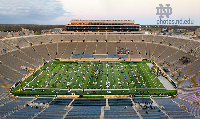 """April 9, 2021; The Department of Film, Television and Theatre (FTT), with the Notre Dame Symphony Orchestra and the Notre Dame Folk Choir, produced """"Jesus Christ Superstar"""" on the field of Notre Dame Stadium. FTT had planned to put on the production in April 2020, but the pandemic prevented that from happening. (Photo by Matt Cashore/University of Notre Dame)"""
