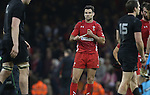 A dejected Mike Phillips at the final whistle as the All Blacks celebrate victory over Wales.<br /> Dove men Series 2014<br /> Wales v New Zealand<br /> 22.11.14<br /> ©Steve Pope -SPORTINGWALES