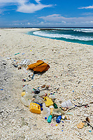 pollution, marine debris or marine litter, plastic wastes on coral rubble beach, Clipperton Island, Overseas France, Pacific Ocean