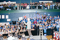 """Campaign volunteers hold up large letters spelling """"Hillary"""" as former president Bill Clinton speaks before former Secretary of State and Democratic presidential candidate Hillary Rodham Clinton speaks at a rally at Nashua Community College in Nashua, New Hampshire, on Tues. Feb. 2, 2016. Former president Bill Clinton also spoke at the event. The day before, Hillary Clinton won the Iowa caucus by a small margin over Bernie Sanders."""
