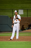 Bowie Baysox third baseman Ryan Mountcastle (4) during the second game of a doubleheader against the Trenton Thunder on June 13, 2018 at Prince George's Stadium in Bowie, Maryland.  Bowie defeated Trenton 10-1.  (Mike Janes/Four Seam Images)