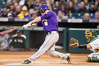 LSU Tigers shortstop Alex Bregman (8) swings the bat during the NCAA baseball game against the Baylor Bears on March 7, 2015 in the Houston College Classic at Minute Maid Park in Houston, Texas. LSU defeated Baylor 2-0. (Andrew Woolley/Four Seam Images)