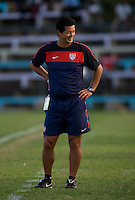 US head coach Wilmer Cabrera smiles towards his bench during the group stage of the CONCACAF Men's Under 17 Championship at Jarrett Park in Montego Bay, Jamaica. The USA defeated Panama, 1-0.