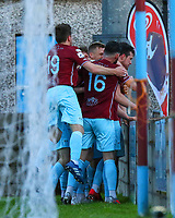 Jake Hegarty of Cobh Ramblers celebrates with teammates after scoring the first goal for his side.<br /> <br /> Cobh Ramblers v Cork City, SSE Airtricity League Division 1, 28/5/21, St. Colman's Park, Cobh.<br /> <br /> Copyright Steve Alfred 2021.