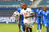 KANSASCITY, KS - JULY 11: Richie Laryea #22 of Canada during a game between Canada and Martinique at Children's Mercy Park on July 11, 2021 in KansasCity, Kansas.