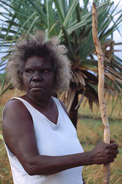 Rita Wikmunea, collecting bush materials, Aurukun, Cape York Peninsula.