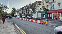 A barrier has been installed in Uplands Crescent as a temporary measure to help with the traffic flow of vehicles as signs installed in December 2016, prohibiting right hand turns were being ignored by motorists in Swansea, Wales, UK. Tuesday 04 December 2018