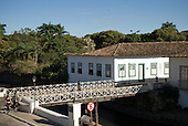 Goias Velho, Brazil. Well preserved colonial town. Wooden bridge.