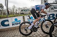 European Champion Giacomo Nizzolo (ITA/Qhubeka ASSOS) up the infamous Kemmelberg<br /> <br /> 83rd Gent-Wevelgem - in Flanders Fields (ME - 1.UWT)<br /> 1 day race from Ieper to Wevelgem (BEL): 254km<br /> <br /> ©kramon