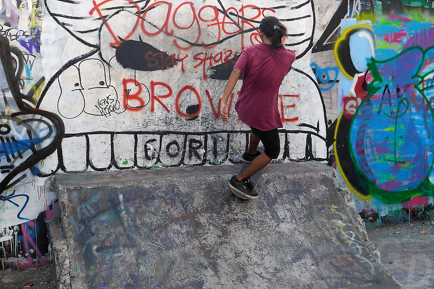 Skate Boarder at the old part of Manila, Philippines