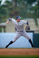GCL Rays second baseman Daniel Robertson (48) throws to first during the first game of a doubleheader against the GCL Orioles on August 1, 2015 at the Ed Smith Stadium in Sarasota, Florida.  GCL Orioles defeated the GCL Rays 2-0.  (Mike Janes/Four Seam Images)