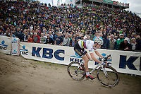 "U23 World Champion Wout Van Aert (BEL/Vastgoedservice-Golden Palace) in the infamous ""The Pit""<br /> <br /> GP Zonhoven 2014"
